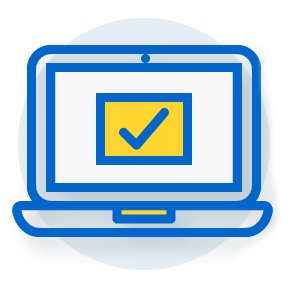 illustration of an open laptop with a checkmark on the monitor