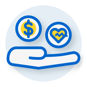 illustration with a handing holding a dollar sign and a heart