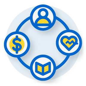 circle of icons including a dollar sign, a heart, a person's outline and a book