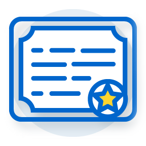 illustration of certificate with star seal in corner