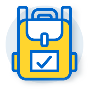 illustration of a backpack with a checkmark on the flap