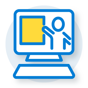 illustration of a computer with a figure pointing to a whiteboard on the monitor