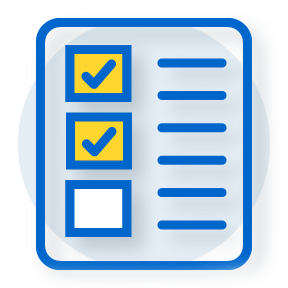 illustration of checklist with two items checked off