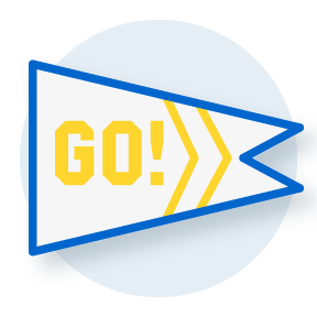 illustration of a pennant with Go written on it