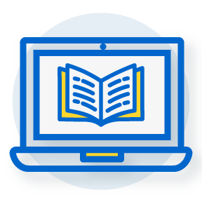 icon of a laptop with the image of a book on-screen