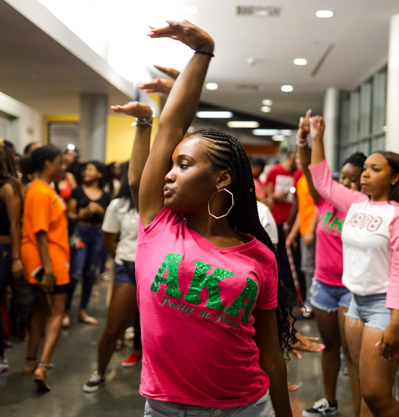 sorority sisters perform dance as part of Late Night with the Greeks