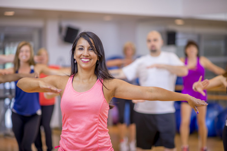A woman in an exercise class
