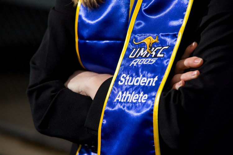 Detail of a UMKC student-athlete sash